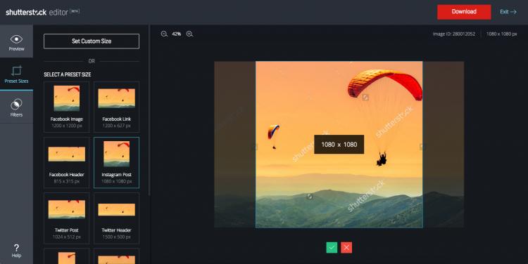 Ansicht des Shutterstock Online Editors